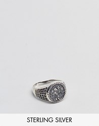 Asos Sterling Silver Sovereign Ring With St Christopher Design Silver