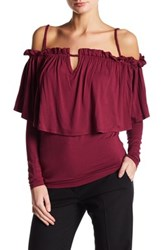 Voom By Joy Han Ohanna Cold Shoulder Blouse Red