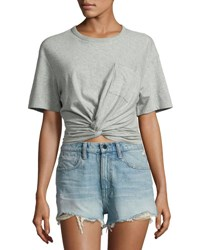 Alexander Wang Heathered Jersey Twist Front Tee Gray