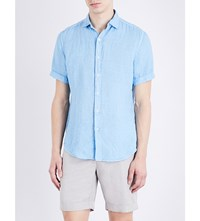 Slowear Regular Fit Linen Shirt Mid Blue