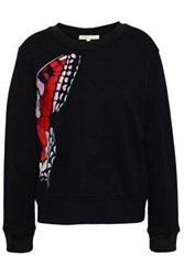 Maje Embroidered Jersey Sweatshirt Black