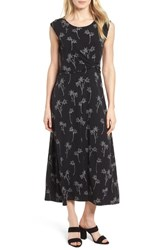 Chaus Floral Outlines Knot Front Maxi Dress 060 Rich Black