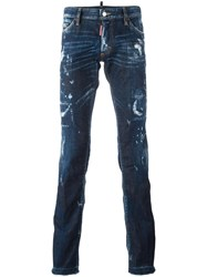 Dsquared2 Sexy Bootcut Bleached Jeans Blue