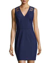 Phoebe Couture Laser Cut V Neck Dress Midnight