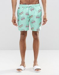Asos Swim Shorts With Fast Food Print In Mid Length Blue