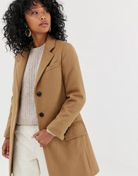 Gloverall Chesterfield Slim Tailored Coat In Wool Blend Tan