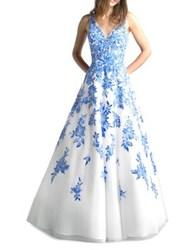 Basix Ii Floral Chiffon Floor Length Gown White Blue