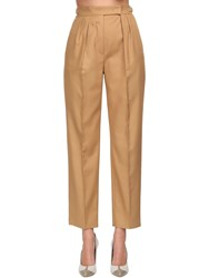 Max Mara High Waist Cotton Twill Pants Beige