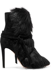 Gianvito Rossi Shearling Trimmed Suede Ankle Boots Black