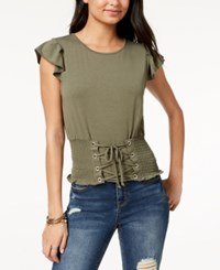 American Rag Juniors' Cropped Corset Top Created For Macy's Dusty Olive