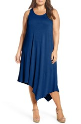 Sejour Plus Size Women's Asymmetrical Jersey Midi Dress Royal Blue