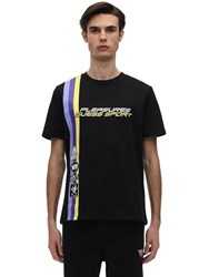 Guess Pleasures Racing Printed Jersey T Shirt Jet Black