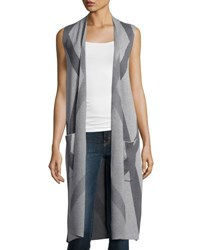 Neiman Marcus Printed Long Knit Vest Gray