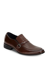 Steve Madden Textured Leather Loafers Brown