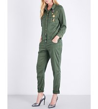 The Kooples Military Motif Woven Jumpsuit Kak01