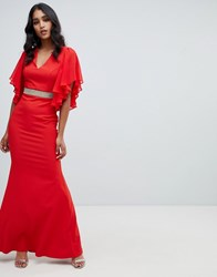Lipsy Ruffle Sleeve Maxi Dress With Embellished Waist In Red Red
