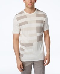 Alfani Men's Colorblocked Knit Tee Shirt Only At Macy's Washed White