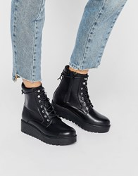 New Look Chunky Platform Lace Up Boot Black