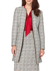 Tahari By Arthur S. Levine Pearl Trimmed Open Front Jacket Ivory Black