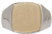 Tom Wood Silver Cushion Goldtop Ring