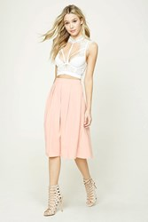 Forever 21 Pleated Knee Length Skirt Pink