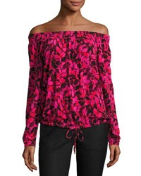 Michael Michael Kors Off The Shoulder Peasant Top Red Pattern