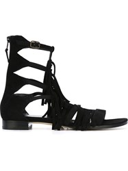 Stuart Weitzman Fringed Gladiator Sandals Black