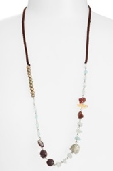 Berry Leather And Semiprecious Stone Necklace No Color