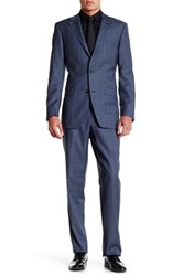 Ike Behar Blue Plaid Two Button Notch Lapel Wool Suit