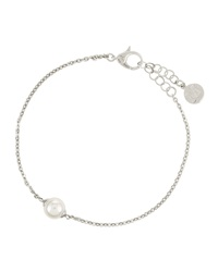 Majorica Sterling Silver And White Pearl Chain Bracelet