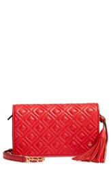 Tory Burch Fleming Leather Wallet Crossbody Red Brilliant Red