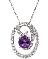 Macy's Amethyst 1 1 5 Ct. T.W. And White Topaz 1 1 5 Ct. T.W. Swirl Pendant Necklace In Sterling Silver