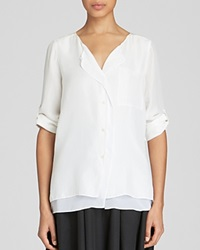 Dkny Pure Silk Button Up Blouse White White
