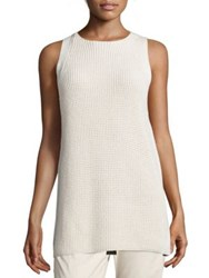 Vince Cotton Waffle Knit Tunic Off White