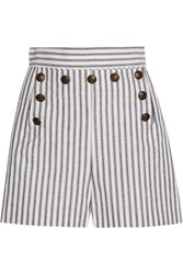 Zimmermann Zephyr Striped Cotton And Linen Blend Shorts Blue