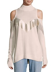 Saks Fifth Avenue Cold Shoulder Knit Sweater Dusty Rose