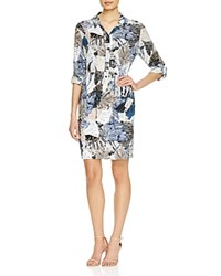 French Connection Lala Tropical Print Shirt Dress Summer White Multi