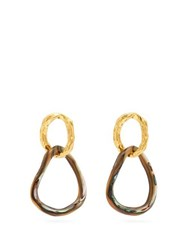 Lizzie Fortunato Loto Double Link Drop Earrings Gold