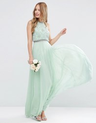 Asos Wedding Embellished Crop Top Maxi Dress Mint Green
