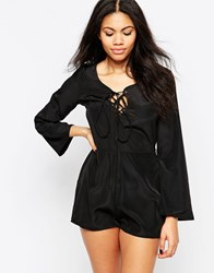 Neon Rose Playsuit With Lace Up Front Black