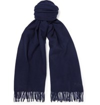 Mulberry Fringed Wool Scarf Midnight Blue
