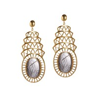 Alexandra Alberta Khrsyler Rutile Quartz Earrings White Gold Neutrals