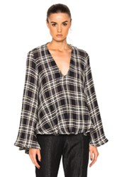 Beaufille Calypso Sweater In Blue Checkered And Plaid White Blue Checkered And Plaid White