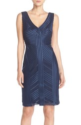 Women's Js Collections Satin And Mesh Sheath Dress Navy