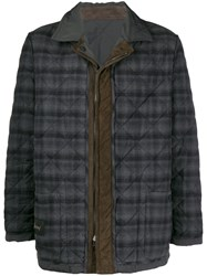Brioni Reversible Quilted Caban Jacket Grey