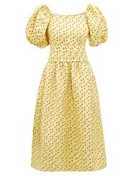 Shrimps Eden Polka Dot Linen Blend Faille Dress Yellow