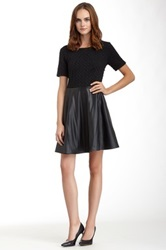 Romeo And Juliet Couture Quilted Faux Leather Trim Flared Hem Dress Black