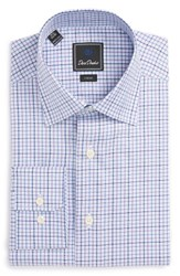 David Donahue Men's Big And Tall Trim Fit Check Dress Shirt Sky Lilac