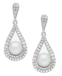 Macy's Cultured Freshwater Pearl 5 1 2Mm And Diamond 1 2 Ct. T.W. Drop Earrings In 14K White Gold