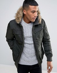 Brave Soul Short Parka With Faux Fur Hood Green